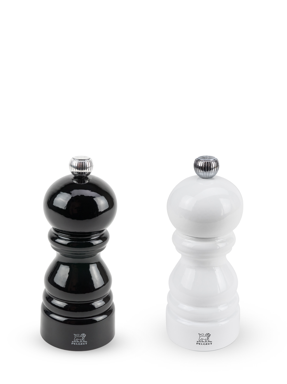 Набор Мельниц Paris Peugeot,  д/перца (черный лак) + д/ соли (белый лак), 12cm
