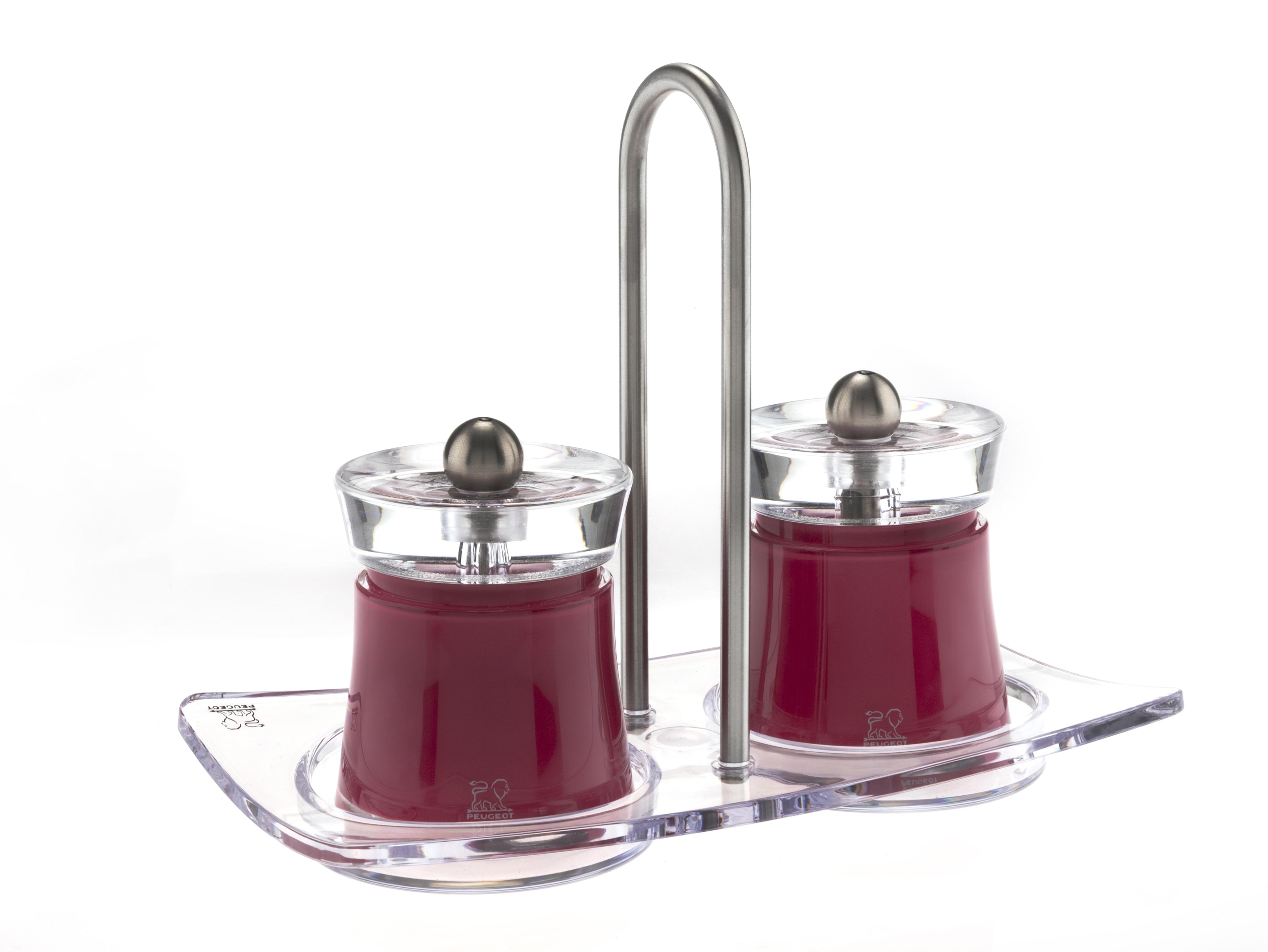 Набор мельниц Bali Peugeot для перца и соли, цвет красный + подставка Linea, акрил