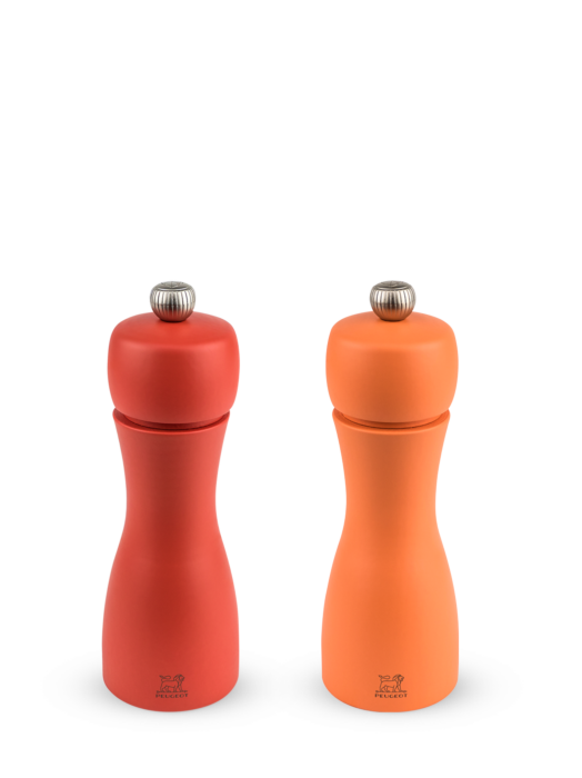 Набор мельниц Tahiti Peugeot для соли и перца, 15 см, коралловый+оранжевый